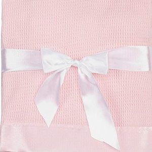 Thermal Waffle Weave Baby Blanket with Satin Nylon